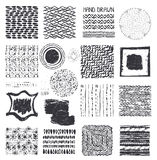 Creative Hand Drawn ink  textures set.Black Royalty Free Stock Photos