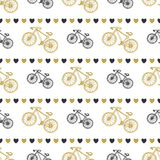 Creative hand drawn seamless pattern with bikes and hearts in black and gold colors. Vector background with bicycle. You can use f Royalty Free Stock Photos