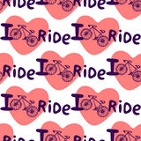 Creative hand drawn seamless pattern with bikes, hearts  and lettering I love ride. Vector background with bicycle. You can use fo Stock Photos
