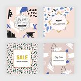 Creative hand drawn social media banner. Modern promotion fashion design with colors brush strokes and dots. Template for mobile a stock illustration