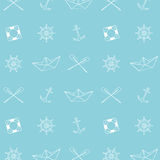 Creative Hand Drawn Texture. Marine / Ocean / Sea Theme Design. Vector Seamless Pattern. Vector Illustration Stock Photos