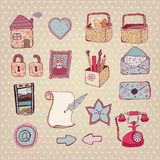 Creative hand drawn web icon set. Vector artwork. cute creative hand drawn web icon set Stock Photography