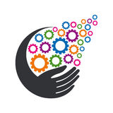 Creative Hand with Gears illustration Royalty Free Stock Images