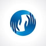 Creative hand icon, arrange hand and make round shape Stock Photos