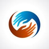 Creative hand icon, arrange hand and make round shape Stock Images