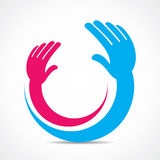Creative hand icon or symbol concept Stock Image