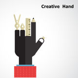 Creative hand logo design templates. Drawing instrument sign wit Stock Photos