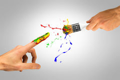 Creative hand with paintbrush creating new man Stock Image