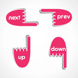 Creative hand prev,next, up and down  icon Stock Photos