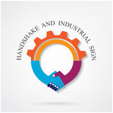 Creative handshake sign and industrial idea concept Stock Photography