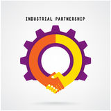 Creative handshake sign and industrial idea concept Royalty Free Stock Image