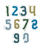 Creative handwritten colorful numbers set from 0 to 10, vector g Stock Photography