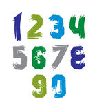 Creative handwritten colorful numbers set from 0 to 10 Stock Images