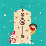 Creative hang tag for Happy New Year 2016. Stock Image