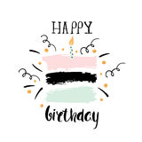 Creative Happy Birthday greeting background. Hand drawn ink borders, Vector Illustration vector illustration