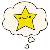 A creative happy cartoon star and thought bubble in comic book style. An original creative happy cartoon star and thought bubble in comic book style stock illustration
