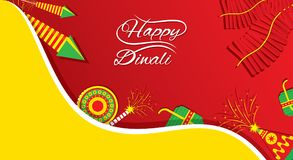 Creative happy diwali festival greeting design. A beautiful greeting card with decorated with cracker, indian diwali festival celebration design Royalty Free Stock Photography