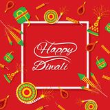 Creative happy diwali festival greeting design. A beautiful greeting card with decorated with cracker of indian diwali festival celebration design Royalty Free Stock Photo