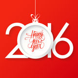 Creative Happy New Year 2016 Text Design With Christmas Ball. Happy New Year Hand Drawn Text Design. Royalty Free Stock Images