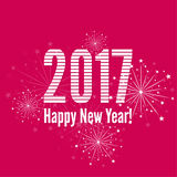 Creative happy new year 2017. With bursts of multicolored fireworks. For decorations festivals, xmas, glamour holiday, illuminated, celebration vector illustration