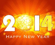 Creative Happy New Year 2014 celebration background with dsico ball Royalty Free Stock Photo