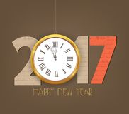 Creative happy new year 2017 clock design.  Royalty Free Stock Images