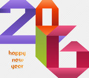 Creative happy new year 2016 colorful origami design Stock Photo