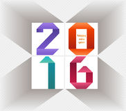 Creative happy new year 2016 colorful origami design.  Royalty Free Stock Images