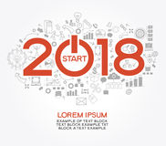 Creative happy new year 2018 design Stock Photo