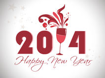 Creative happy new year 2014 design with champagne glasses .celebration party poster, banner or invitations. Stock Photo