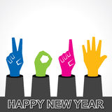 Creative happy new year 2015 design with finger. Stock vector Stock Image