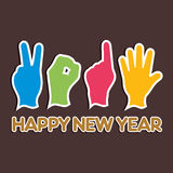 Creative happy new year 2015 design with finger Royalty Free Stock Image