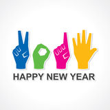 Creative happy new year 2015 design with finger Stock Image