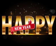 Creative happy new year 2016 design with golden typography and thumbs up. Stock Photo