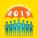 Creative happy new year 2019 design. Happy new year 2019 poster design, businessmen under umbrella vector illustration