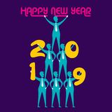 Creative happy new year 2019 design. New year 2019 poster design, number hold by people stock illustration