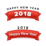 Creative happy new year 2018 design. Vector illustration. Creative happy new year ribbon design. Vector illustration Stock Image