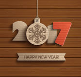 Creative happy new year 2017. Creative happy new year 2017 design. Wood texture. Vector illustration royalty free illustration