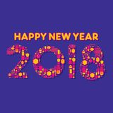 Creative happy new year 2018 poster design. Creative happy new year 2018 font design by makeup item royalty free illustration