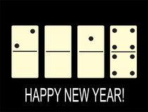 Creative happy New year 2018 in the form of dominoes. Creative happy New year 2018 in the form of chips dominoes Royalty Free Stock Photos
