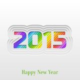 Creative 2015 Happy New Year Greeting Card. Abstract Paper Cut 2015 Happy New Year Background, Trendy Greeting Card or Invitation Design Template Stock Photos