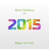 Creative 2015 Happy New Year Greeting Card. Abstract Paper Cut 2015 Happy New Year Background, Trendy Greeting Card or Invitation Design Template Royalty Free Stock Image