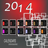 Creative Happy New Year. 2014. Infographic Calendars Stock Images
