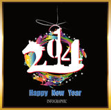 Creative Happy New Year. 2014. Infographic Calendars Royalty Free Stock Photos