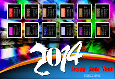 Creative Happy New Year 2014. Infographic Calendars Stock Photography