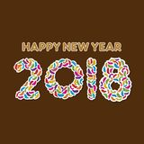 Creative happy new year 2018 poster design. By colorful female footwear vector illustration