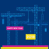 Creative happy new year 2018 poster design. By construction concept vector illustration