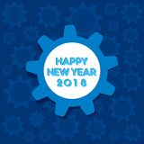 Happy new year 2018 poster design. Creative happy new year 2018 poster design by gear with background Stock Photography