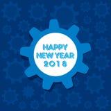 Happy new year 2018 poster design. Creative happy new year 2018 poster design by gear with background stock illustration