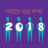 Creative happy new year 2018 poster design. Men hold number in hand Royalty Free Stock Image